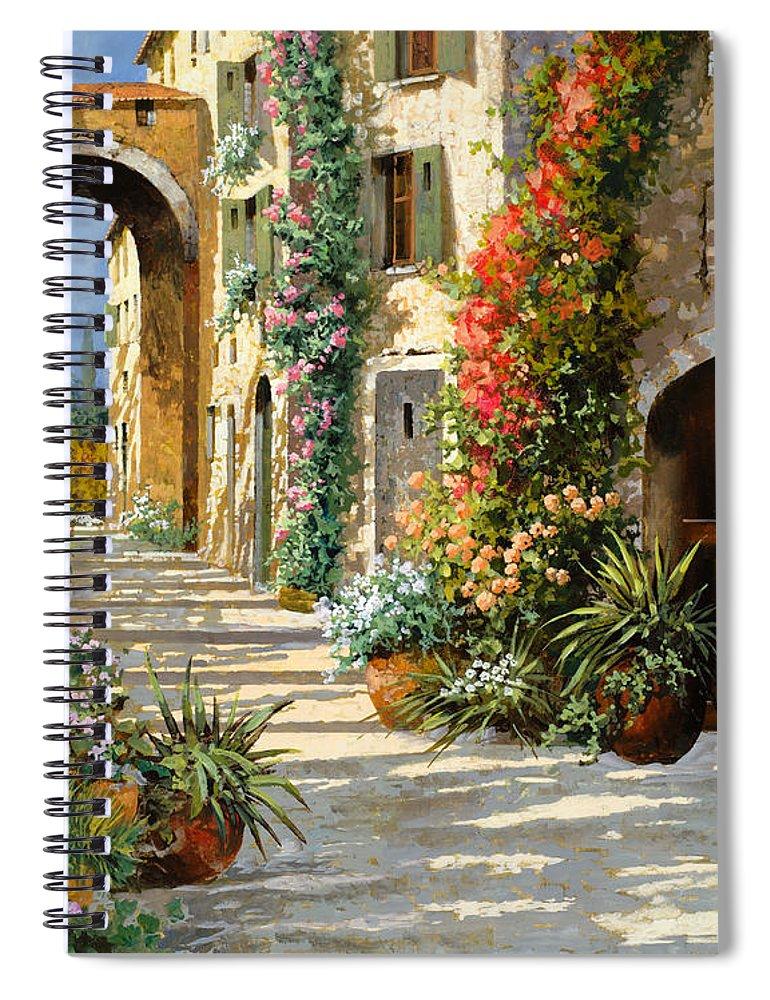 Landscape Spiral Notebook featuring the painting La Porta Rossa Sulla Salita by Guido Borelli