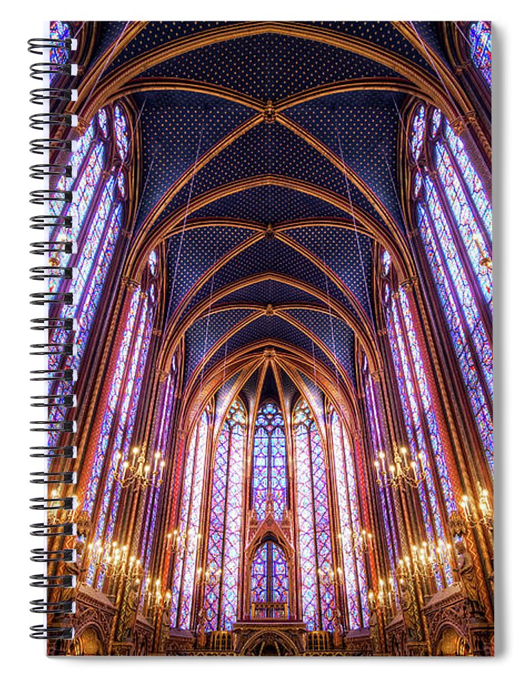 Arch Spiral Notebook featuring the photograph La Sainte-chapelle Upper Chapel, Paris by Joe Daniel Price