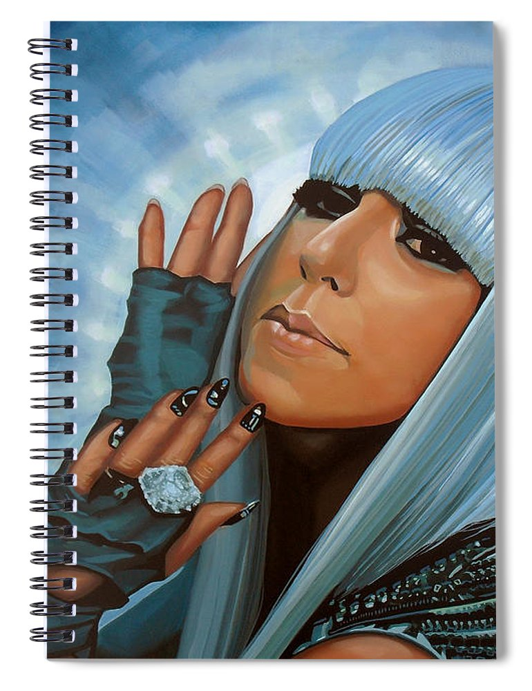 Lady Gaga Spiral Notebook featuring the painting Lady Gaga Painting by Paul Meijering