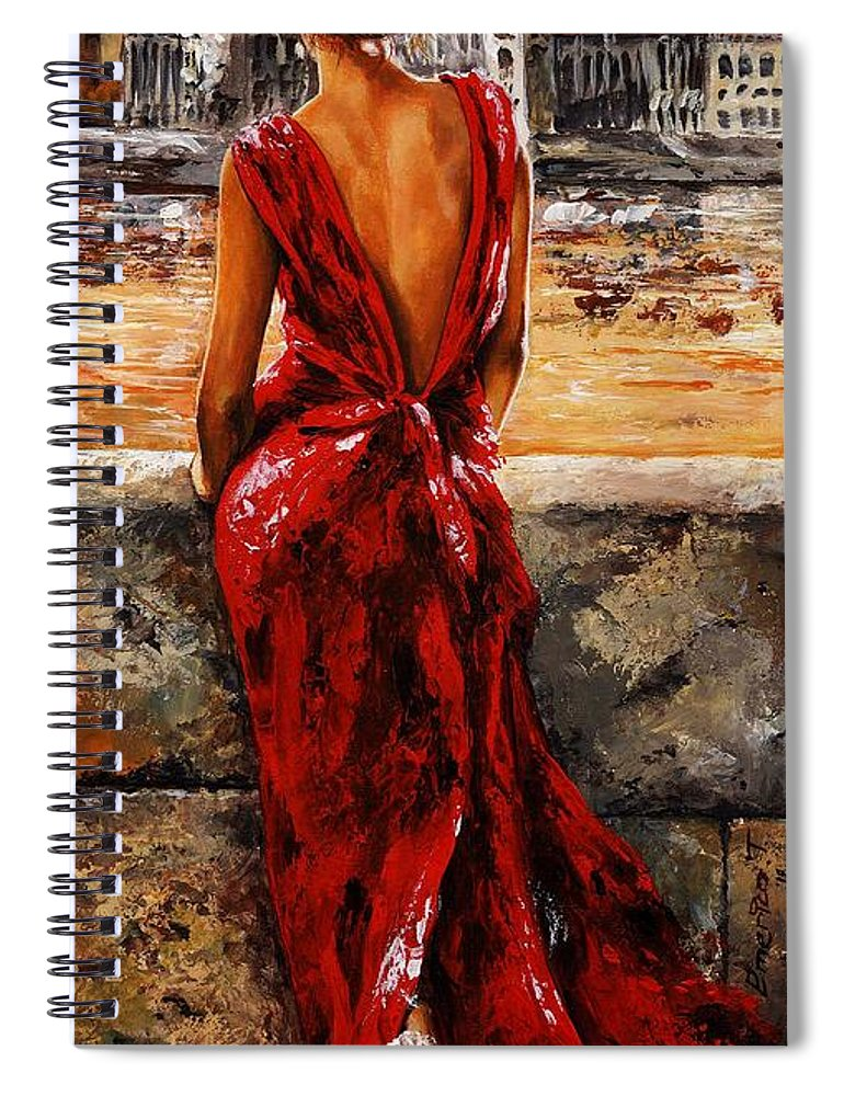 Lady Spiral Notebook featuring the painting Lady In Red 34 - I Love Budapest by Emerico Imre Toth