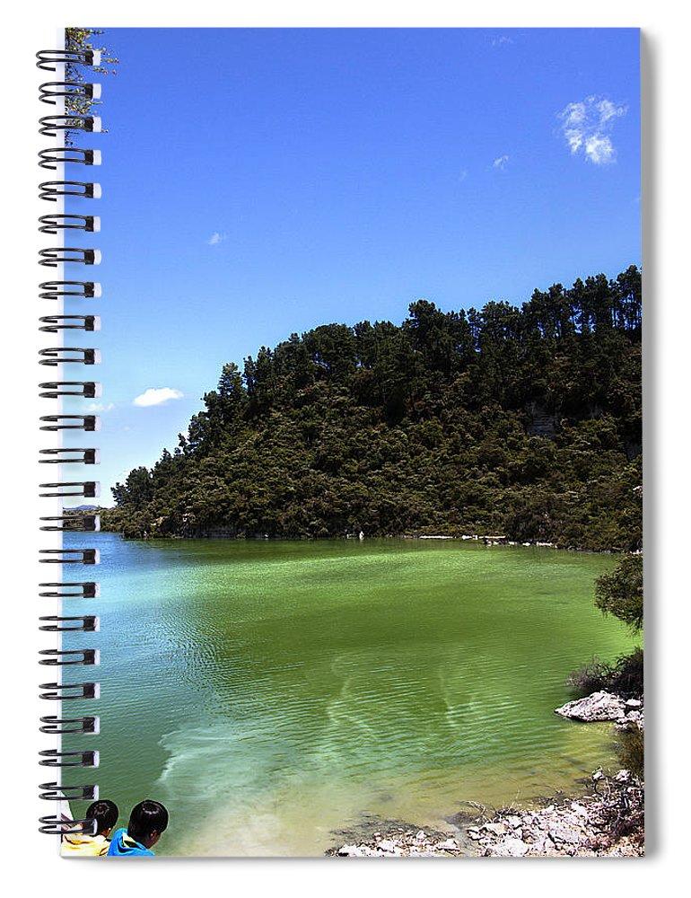 New Zealand Spiral Notebook featuring the photograph Lake Ngakoro Rotorua New Zealand by Peter Lloyd