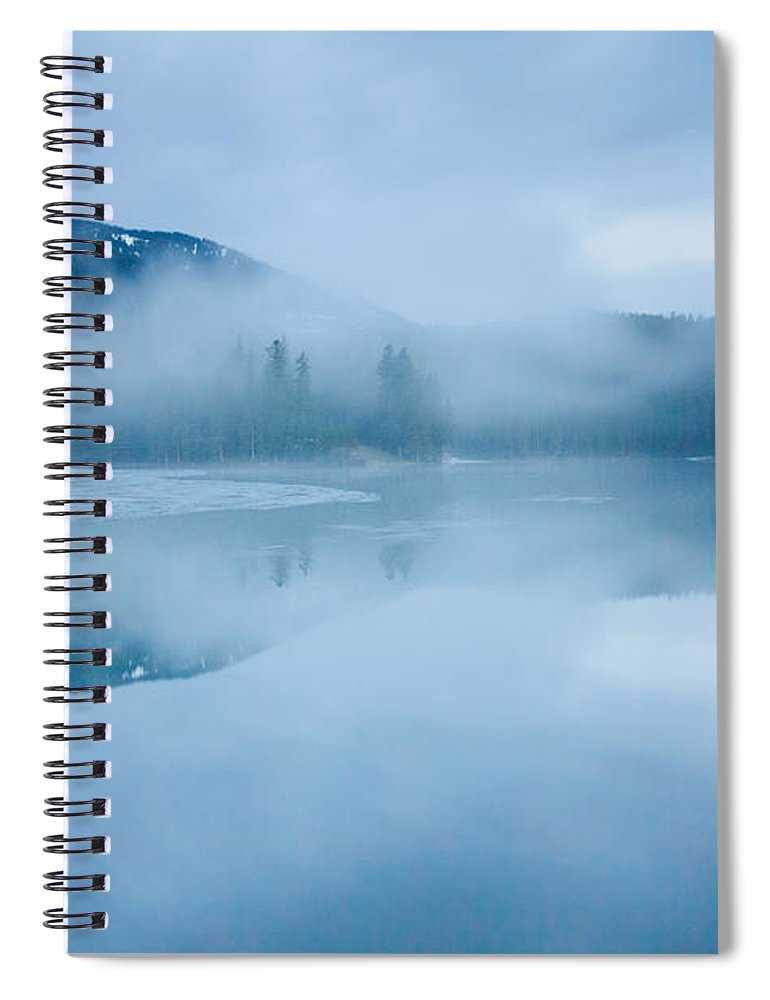 Scenics Spiral Notebook featuring the photograph Lake Surrounded By Mountains And Forest by Verybigalex