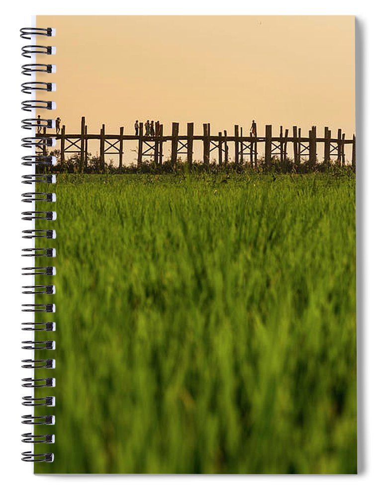 Built Structure Spiral Notebook featuring the photograph Large Rice Paddy Below U Bein Bridge by Merten Snijders