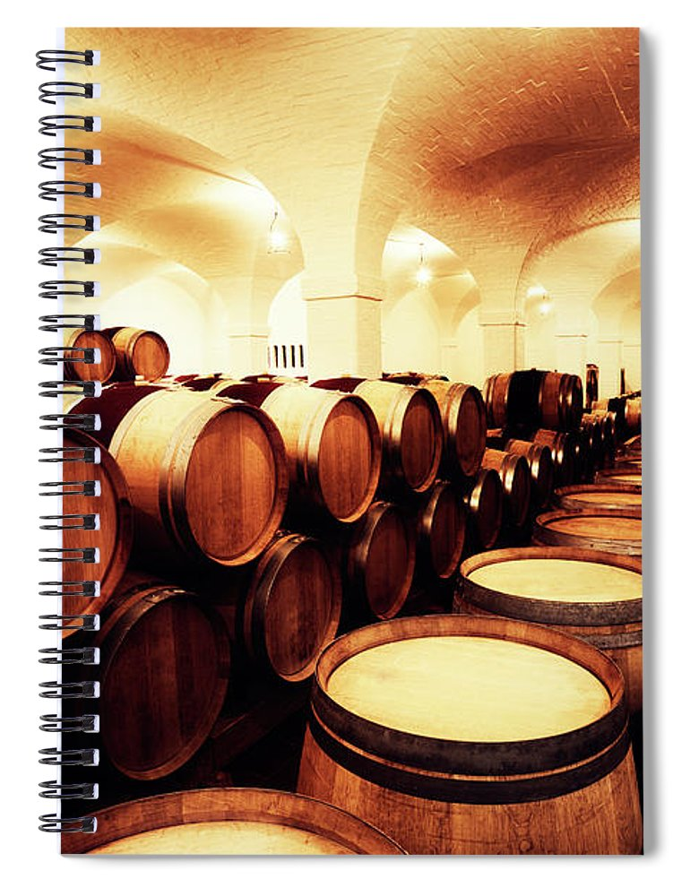 Alcohol Spiral Notebook featuring the photograph Large Winery Cellar Filled With Oak by Rapideye
