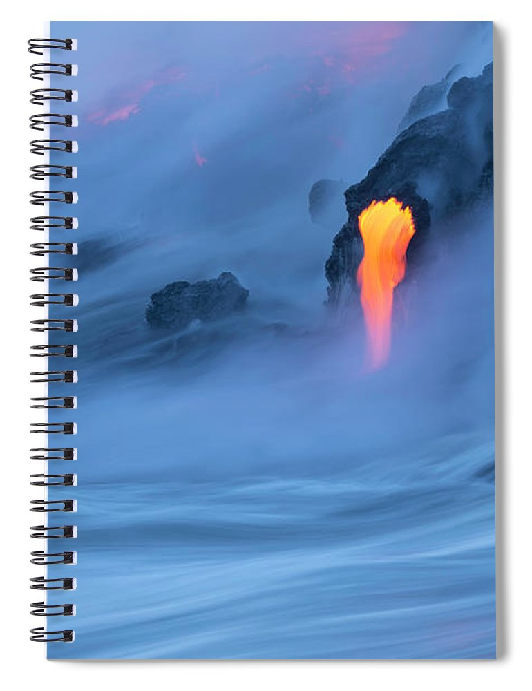 Cool Attitude Spiral Notebook featuring the photograph Lava Ocean Entry by Justinreznick
