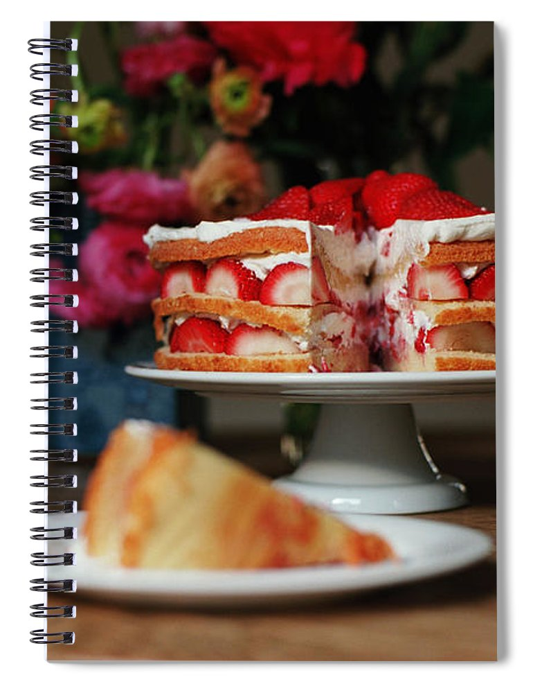 Vanilla Spiral Notebook featuring the photograph Layered Strawberry Cake With Background by Katie Baxter