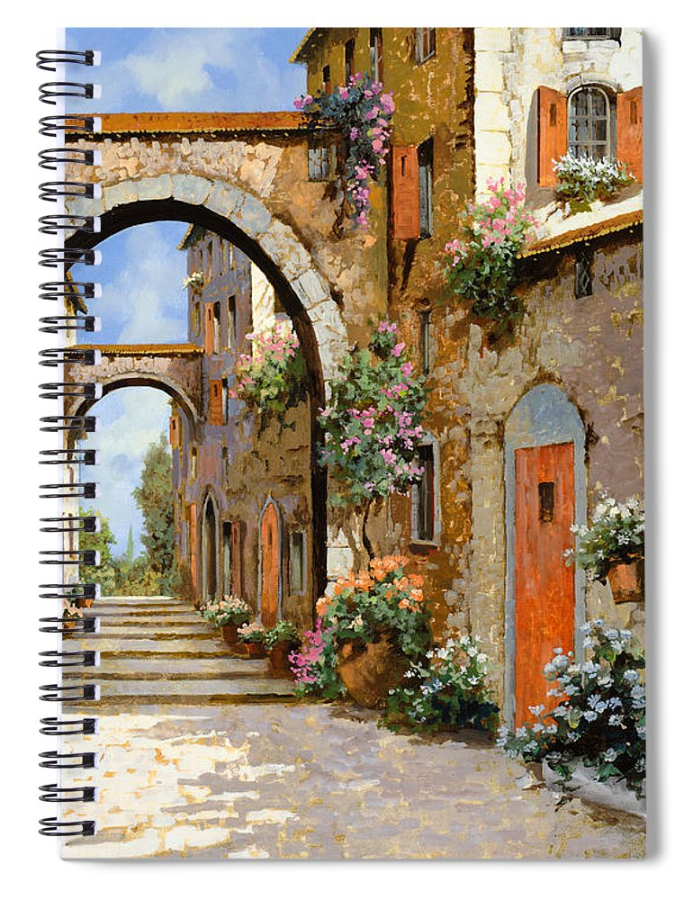 Landscape Spiral Notebook featuring the painting Le Porte Rosse Sulla Strada by Guido Borelli