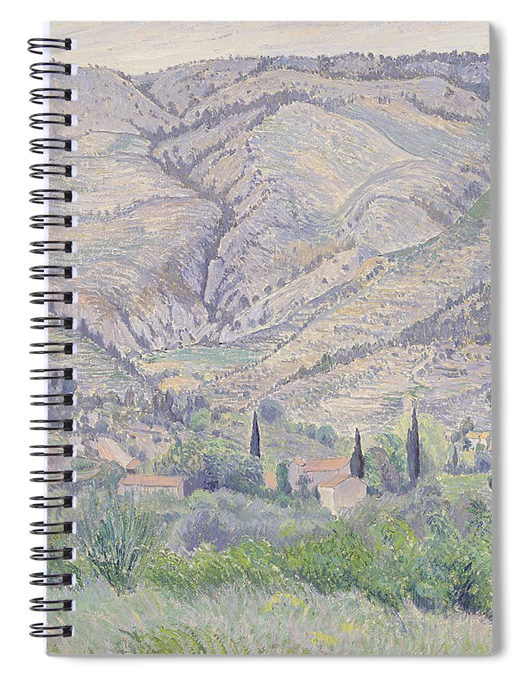 French Landscape Spiral Notebook featuring the painting Le Ragas, Near Toulon, 1930 by Camille Pissarro