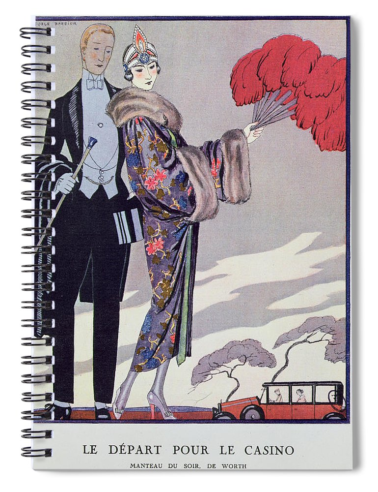 Fur Spiral Notebook featuring the painting Leaving For The Casino by Georges Barbier