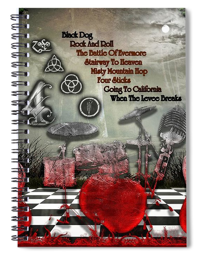 Led Zeppelin Spiral Notebook featuring the digital art Led Zeppelin IV by Michael Damiani