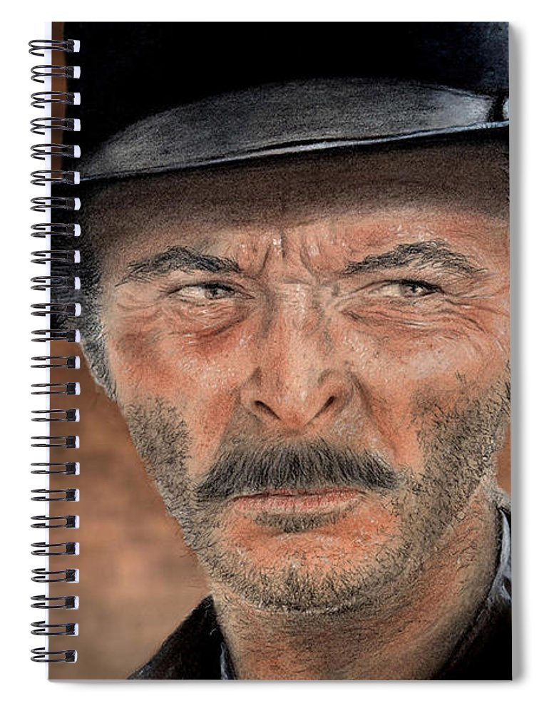 Lee Van Cleef Spiral Notebook featuring the drawing Lee Van Cleef As Angel Eyes In The Good The Bad And The Ugly Version II by Jim Fitzpatrick