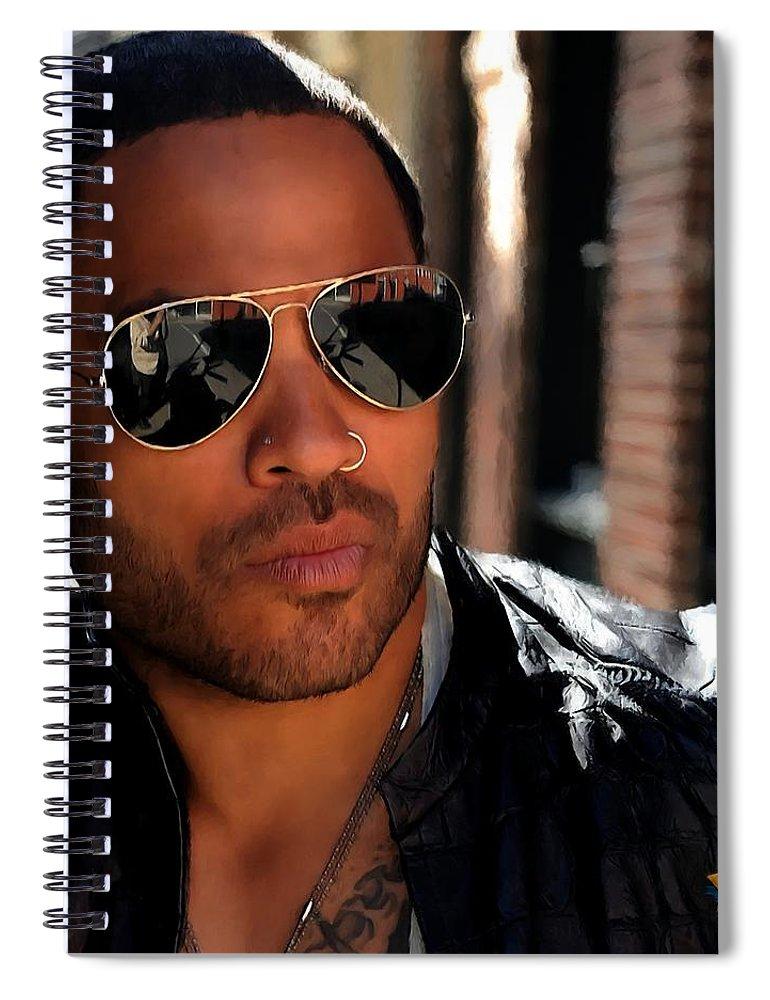 Lenny Kravitz Spiral Notebook featuring the digital art Lenny Kravitz by Gabriel T Toro