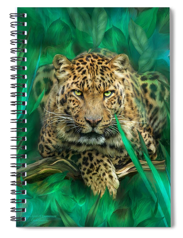 Leopard Spiral Notebook featuring the mixed media Leopard - Spirit Of Empowerment by Carol Cavalaris