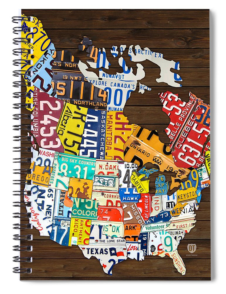 License Plate Map Of North America - Canada And United States Spiral  Notebook