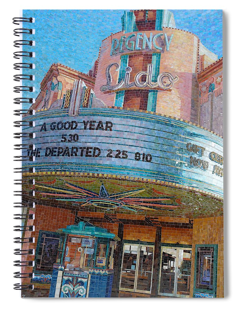 Vintage Spiral Notebook featuring the painting Lido Theater by Mia Tavonatti
