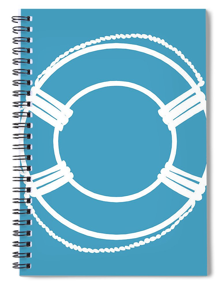 Graphic Art Spiral Notebook featuring the digital art Life Preserver In White And Turquoise Blue by Jackie Farnsworth