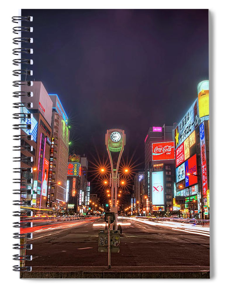 Hokkaido Spiral Notebook featuring the photograph Light Trails In Susukino by Daniel Chui