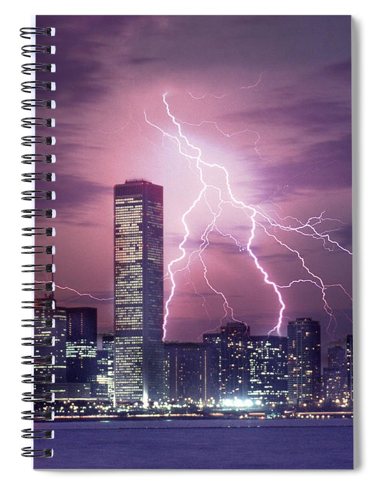 Scenics Spiral Notebook featuring the photograph Lightning Striking Chicago Skyline by Lyle Leduc