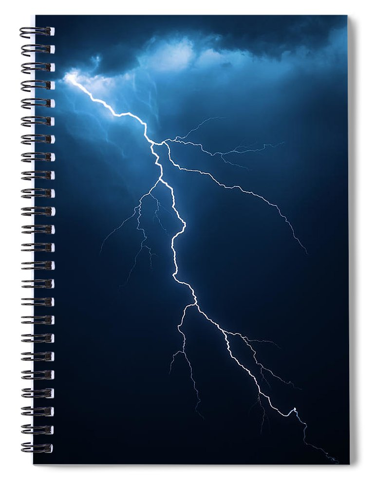 Lightning Spiral Notebook featuring the photograph Lightning With Cloudscape by Johan Swanepoel