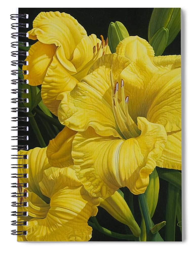 Floral Spiral Notebook featuring the painting Lilies for Olivia Rose by Gary Hernandez
