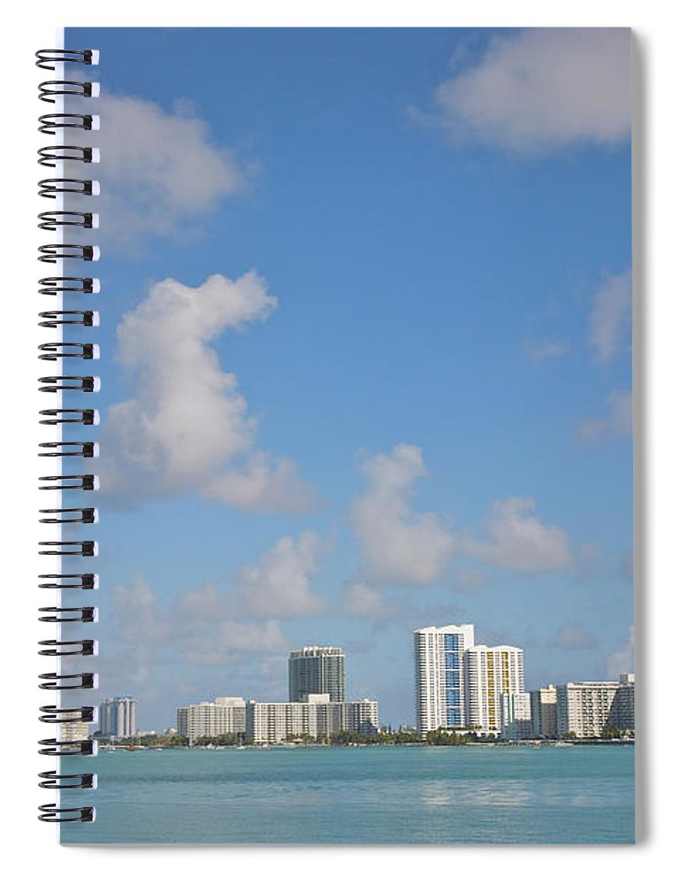 Residential District Spiral Notebook featuring the photograph Line Of White Residential Towers Above by Barry Winiker
