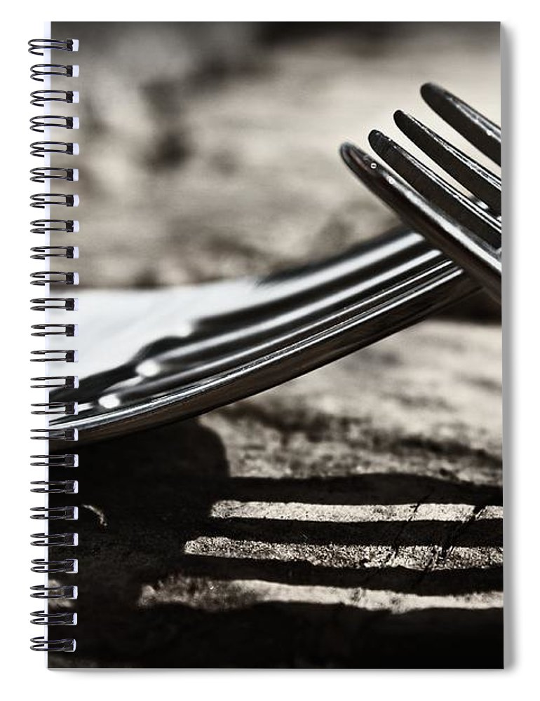 Forks Spiral Notebook featuring the photograph Lines And Shadows by Clare Bevan