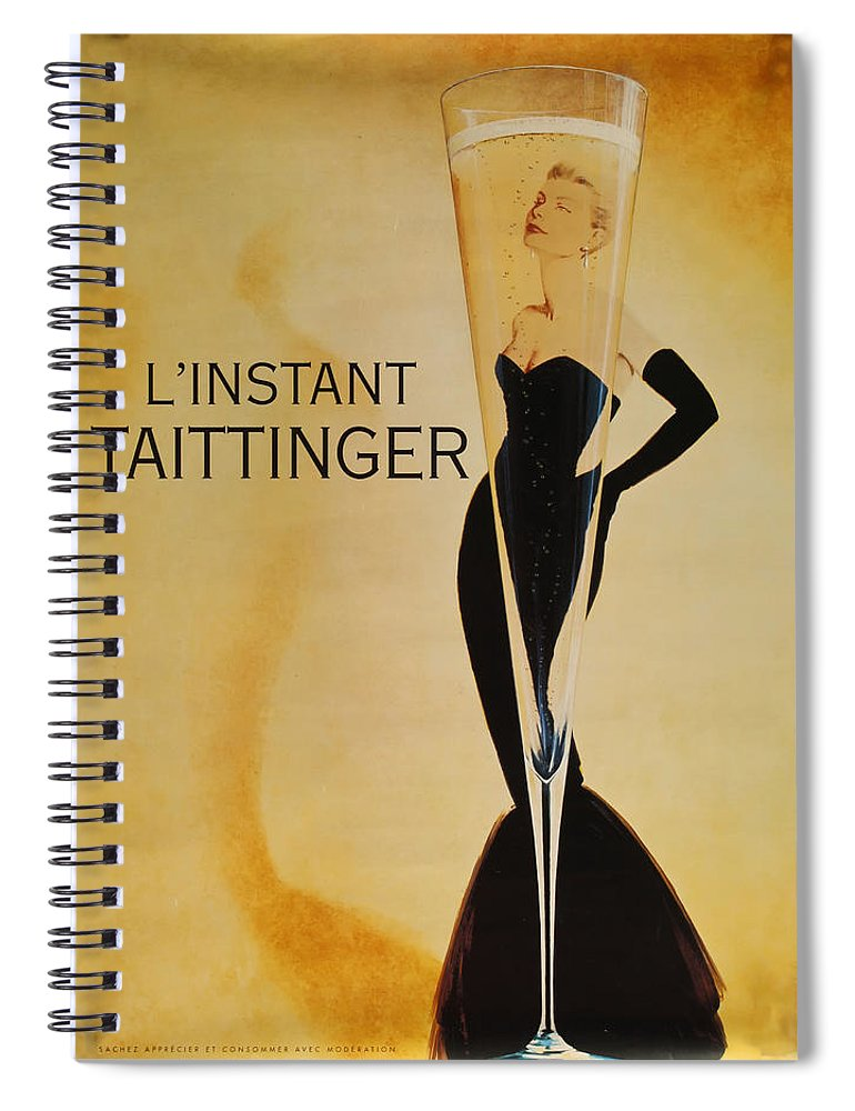 L'instant Taittanger Spiral Notebook featuring the digital art L'Instant Taittinger by Georgia Fowler
