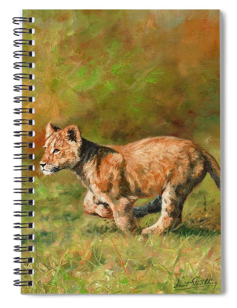 Lion Spiral Notebook featuring the painting Lion Cub Running by David Stribbling