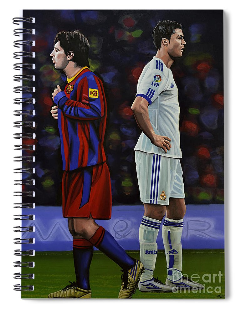 Lionel Messi Spiral Notebook featuring the painting Lionel Messi and Cristiano Ronaldo by Paul Meijering