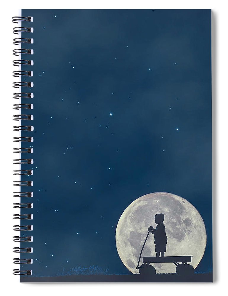 Carrie Ann Grippo-pike Spiral Notebook featuring the photograph Little Boy Blue And The Man On The Moon by Carrie Ann Grippo-Pike
