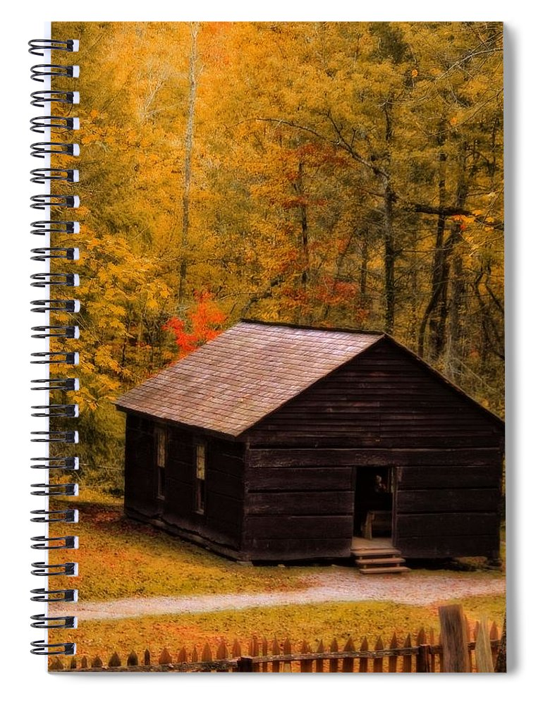 Little Greenbrier Schoolhouse In Autumn Spiral Notebook featuring the photograph Little Greenbrier Schoolhouse In Autumn by Dan Sproul