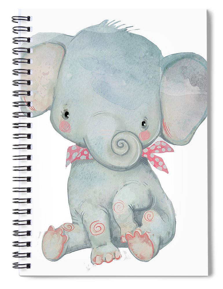 Watercolor Painting Spiral Notebook featuring the digital art Little Pocket Elephant by Cofeee