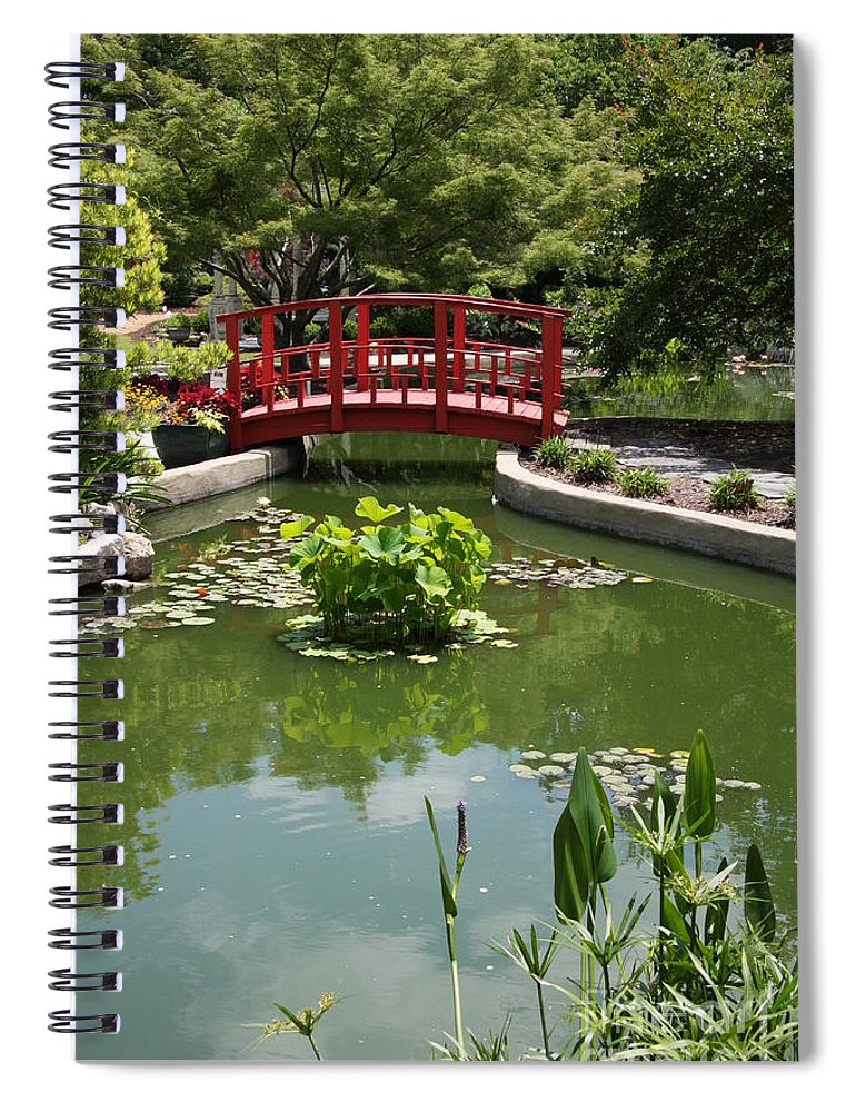 Bridge Spiral Notebook featuring the photograph Little Red Bridge by Christiane Schulze Art And Photography