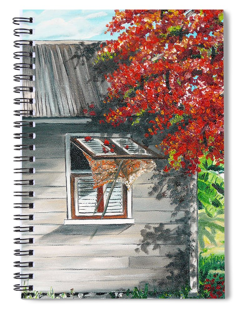 Caribbean Painting Typical Country House In The Caribbean Or West Indian Islands With Flamboyant Tree Tropical Painting Spiral Notebook featuring the painting Little West Indian House 1 by Karin Dawn Kelshall- Best