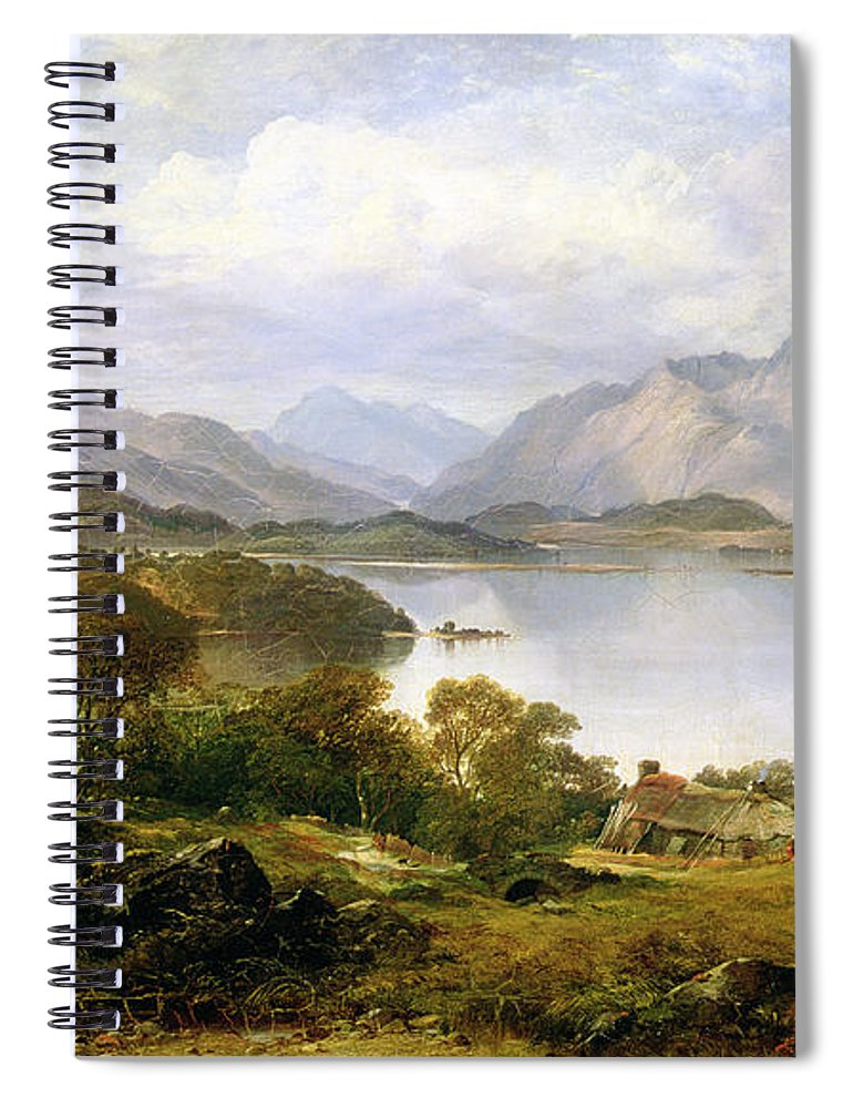 Lake Spiral Notebook featuring the painting Loch Lomond, 1861 by Horatio McCulloch