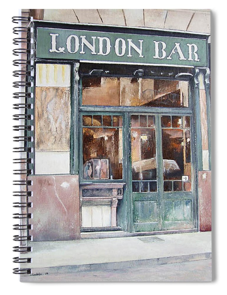 London Spiral Notebook featuring the painting London bar-Barcelona by Tomas Castano