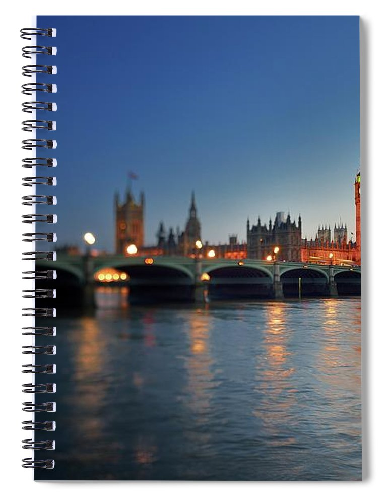 Tranquility Spiral Notebook featuring the photograph London, Palace Of Westminster At Sunset by Vladimir Zakharov