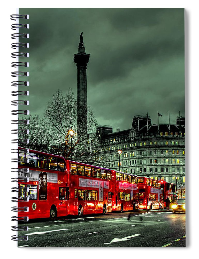 London Red Bus Spiral Notebook featuring the photograph London Red Buses And Routemaster by Jasna Buncic