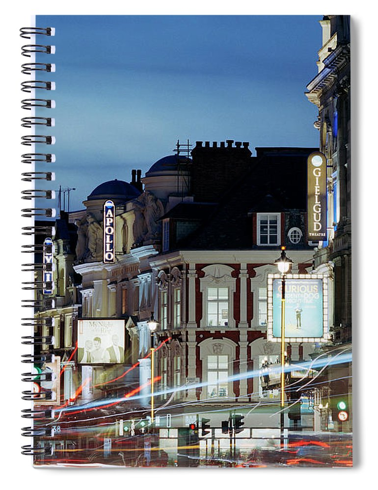 Recreational Pursuit Spiral Notebook featuring the photograph Londons Shaftesbury Avenue At Dusk by Shomos Uddin