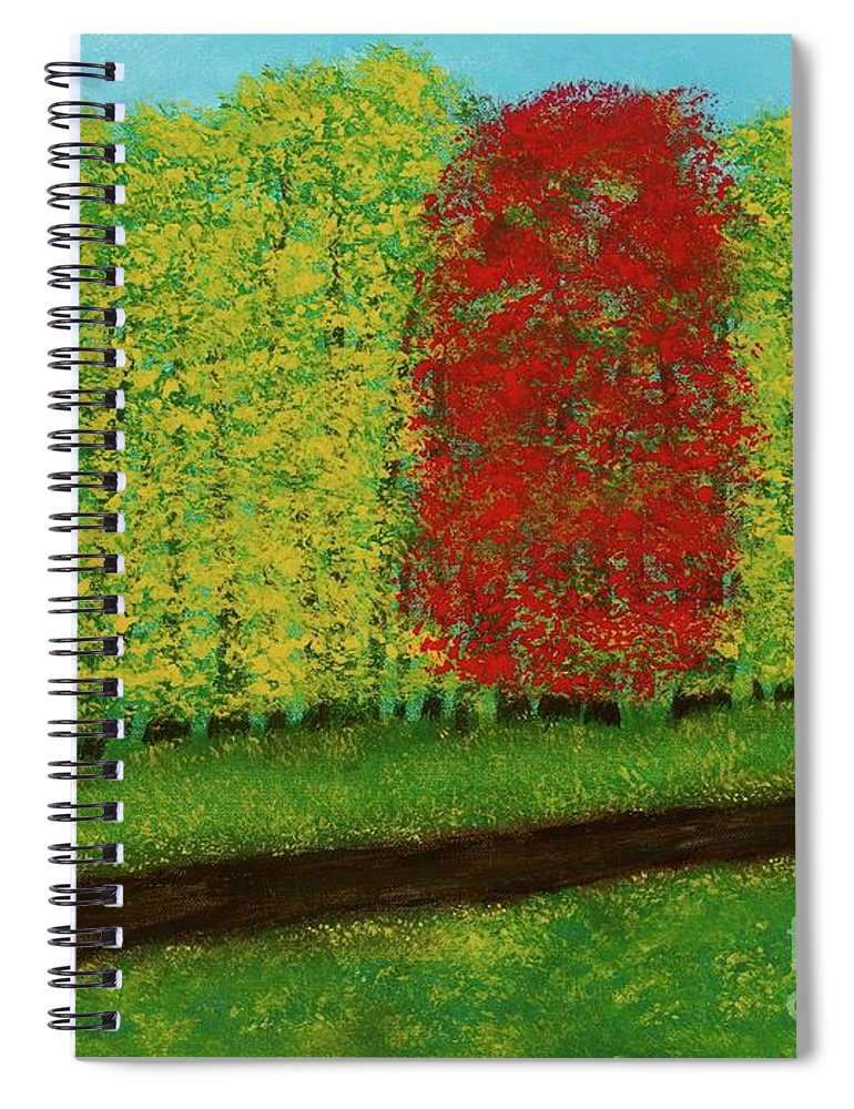 Landscape Spiral Notebook featuring the painting Lone Maple Among The Ashes by Hillary Binder-Klein
