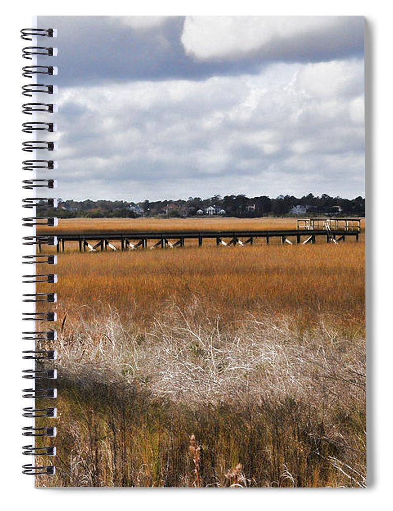 Wright Spiral Notebook featuring the photograph Long Marsh Dock by Paulette B Wright