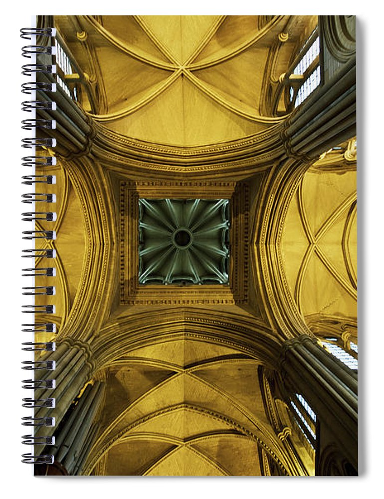 Arch Spiral Notebook featuring the photograph Looking Up At A Cathedral Ceiling by James Ingham / Design Pics