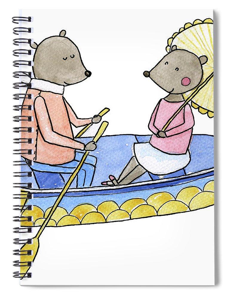 Bridegroom Spiral Notebook featuring the digital art Love Boat Watercolor Illustration by Kili-kili