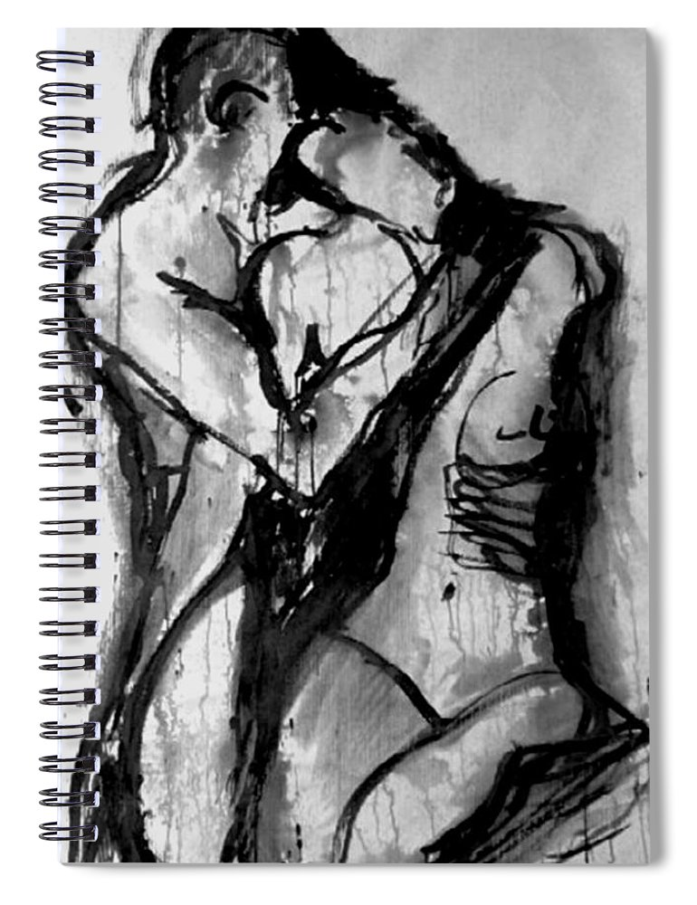 Couple Spiral Notebook featuring the painting Love Me Tender by Jarmo Korhonen aka Jarko