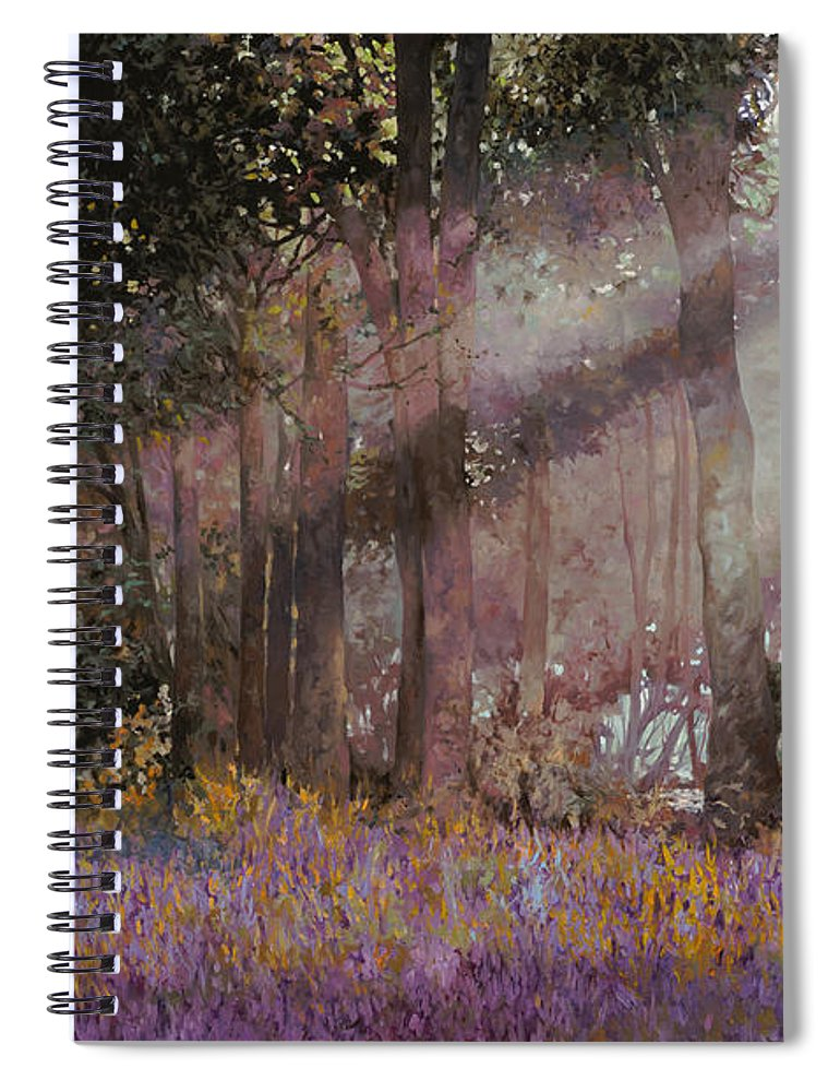 Wood Spiral Notebook featuring the painting Luci by Guido Borelli