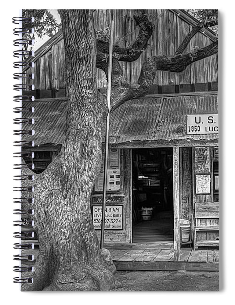 Luckenbach Spiral Notebook featuring the photograph Luckenbach 2 Black and White by Scott Norris