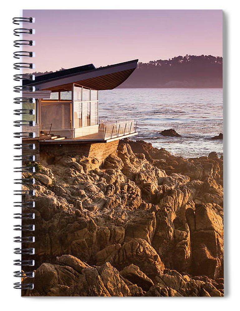 Water's Edge Spiral Notebook featuring the photograph Luxury Home Overlooks The Big Sur by Pgiam