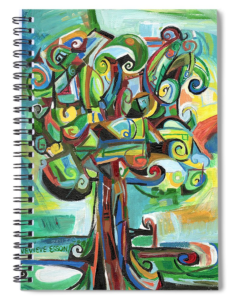 Tree Spiral Notebook featuring the painting Lyrical Tree by Genevieve Esson