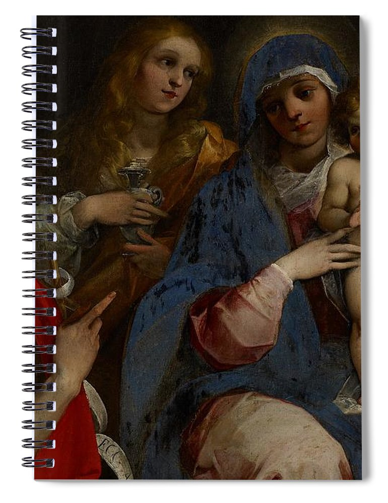 Madonna; Virgin; Mary; Saint; Saints; Jesus Christ; Child; Infant; Baby; St. John The Baptist; Mary Magdalene; St. Anne; Holy Family; Half Length; Pointing; Male; Female; Baroque; Lily; Flower; Holy Grail Spiral Notebook featuring the painting Madonna And Child With Saints John The Baptist With Mary Magdalene And Anne by Guiseppe Cesari