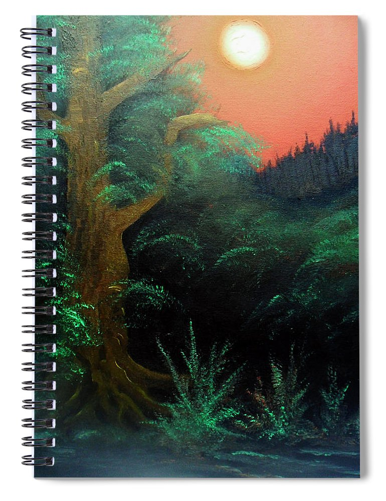 Landscape Spiral Notebook featuring the painting Magic forest by Sergey Bezhinets